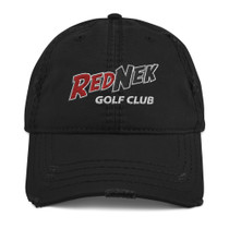 RedNek Golf Club - Embroidered Distressed Hat in Black
