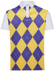 Classic Argyle Mens Golf Polo Shirt - Purple & Gold by ReadyGOLF