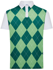 Classic Argyle Mens Golf Polo Shirt - Green & Green by ReadyGOLF