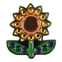 ReadyGolf: Sunflower Ball Marker & Hat Clip with Crystals