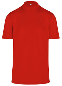 ReadyGOLF Mens Mock Neck Stretch Fit Polo Shirt - Red