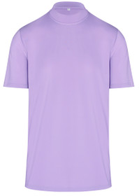 ReadyGOLF Mens Mock Neck Stretch Fit Polo Shirt - Lilac