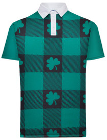 Shamrock Plaid Mens Golf Polo Shirt by ReadyGOLF