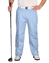 Golf Knickers: Men's 'Par 4' Cotton/Ramie Golf Trousers - Light Blue