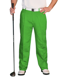 Golf Knickers: Men's 'Par 4' Cotton/Ramie Golf Trousers - Lime