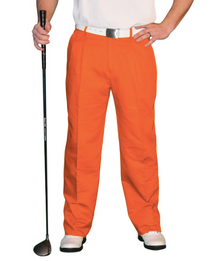 Golf Knickers: Men's 'Par 4' Cotton/Ramie Golf Trousers - Orange