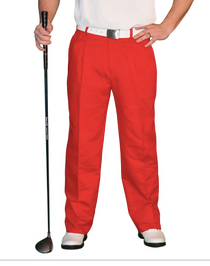 Golf Knickers: Men's 'Par 4' Cotton/Ramie Golf Trousers - Red