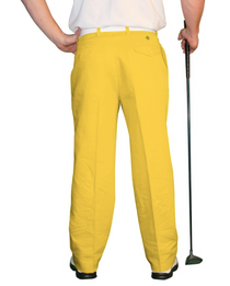 Golf Knickers: Men's 'Par 4' Cotton/Ramie Golf Trousers - Yellow
