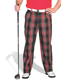 Golf Knickers: Men's 'Par 5' Cotton/Ramie Golf Trousers - Black Stewart