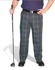 Golf Knickers: Men's 'Par 5' Cotton/Ramie Golf Trousers - Black Watch