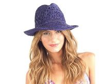 Profile by Gottex:  Women's Andros Crochet  Fedora Sun Hat - Purple