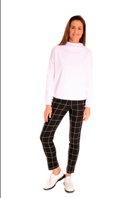 Golftini: Womens Trophy Pull-On Stretch Twill Pant - Black/White