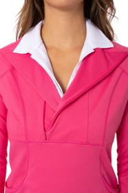 Golftini: Women's Contrast Quarter Zip Pullover -  Hot Pink