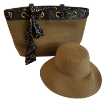 Physician Endorsed: Women's Serengeti Hat & Bag Set & Matching Scarf - Brown/Black