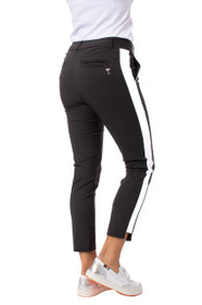 Golftini: Women's Black/White Pull-On Stretch Ankle Pant - Flirtini