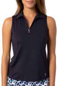 Golftini: Women's Sleeveless Zip Tech Polo - Navy