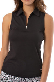 Golftini: Women's Sleeveless Zip Tech Polo - Black
