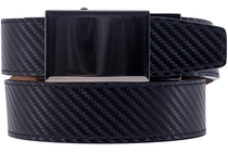 Nexbelt:  Dress Belt Ratchet Buckle - Gunmetal Black Carbon Fiber