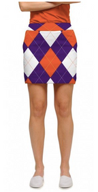 Loudmouth Golf: Women's StretchTech Skort - Purple & Orange Argyle