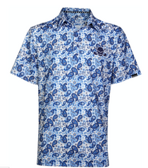 Tattoo Golf: Men's Hustler Cool-Stretch Golf Shirt - Blue