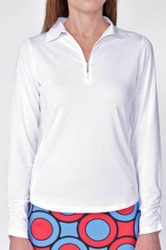 Golftini: Women's Long Sleeve Breathable Panel Zip Tech Polo - White (Size: Medium) SALE