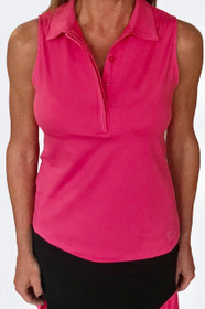 Golftini: Women's Sleeveless Fabulous Polo - Hot Pink (Size: Large) SALE