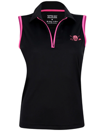Tattoo Golf: Women's Sleeveless Lucky 13 ProCool Golf Shirt - Black & Pink