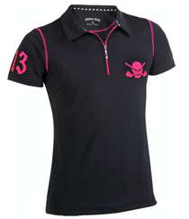 Tattoo Golf: Women's Lucky 13 Hybrid Golf Shirt - Black /Pink