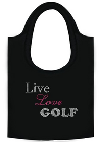 Titania Golf: Women's Rhinestone Tote Bag - Live Love Golf (SALE)