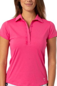 Golftini: Women's Short Sleeve Ruffle Tech Polo - Hot Pink