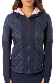 Golftini: Women's Hooded Windbreaker Jacket - Navy/Light Pink
