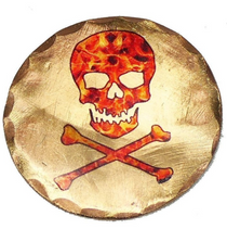 Sunfish: Copper Ball Marker - Skull and Crossbones Flames