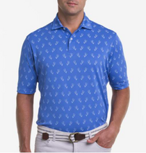 Fairway & Greene: Men's USA Campfire Bear Print Pique Polo - Baltic
