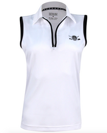 Tattoo Golf: Women's Sleeveless Lucky 13 ProCool Golf Shirt - White/Black