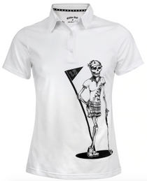 Tattoo Golf: Women's Mrs. Bones Golf Shirt - White
