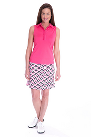 Golftini: Women's Sleeveless Ruffle Tech Polo - Hot Pink (Size: Small) SALE