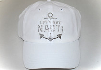 Dolly Mama Ladies Baseball Hat - Let's Get Nauti on White