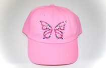 Dolly Mama Ladies Baseball Hat - Butterfly on Pink