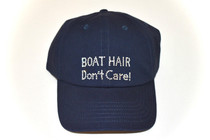 Dolly Mama Ladies Baseball Hat - Boat Hair Don't Care! on Navy