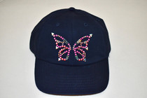 Dolly Mama Ladies Baseball Hat - Butterfly on Navy
