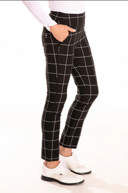 Golftini: Womens Trophy Pull-On Stretch Twill Pant - Black/White (Size: Medium) SALE