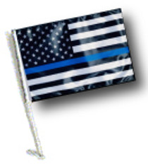 SSP Flags: Car Flag with Pole - Thin Blue Line USA Black and White