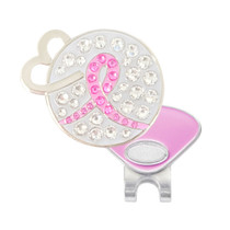 Navika: Swarovski Crystals Ball Marker & Hat Clip - Pink Ribbon Open Heart