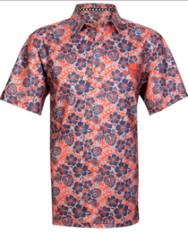 Tattoo Golf: Men's ProCool Golf Shirt - Aloha Hawaiian (Orange)