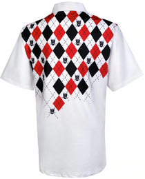 Tattoo Golf: Men's Performance Monster Cool-Stretch Golf Shirt - White