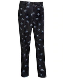 Tattoo Golf: Men's Lucky 13 Multi-Skull Print ProCool Golf Pants - Black/Charcoal
