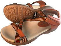 Sandbaggers: Women's Golf Sandals - Galia Sandal Whiskey Brown & Orange