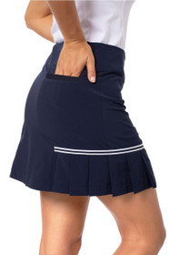Golftini: Women's Navy Side Pleat Performance Skort - Blueberry