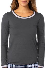 Golftini: Women's Long Sleeve Mesh Trim Top - Charcoal Grey