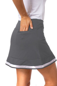 Golftini: Women's Top Golf Pull-On Ruffle Stretch Skort - Charcoal Grey